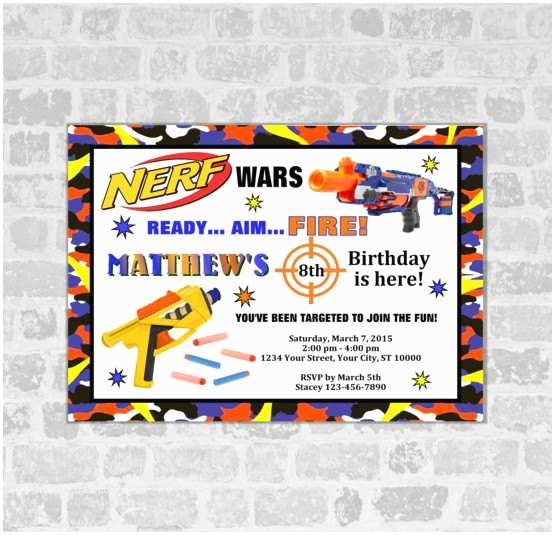 Nerf War Birthday Party Invitations Nerf Wars Birthday Party Invitation Nerf Gun by Dpiexpressions