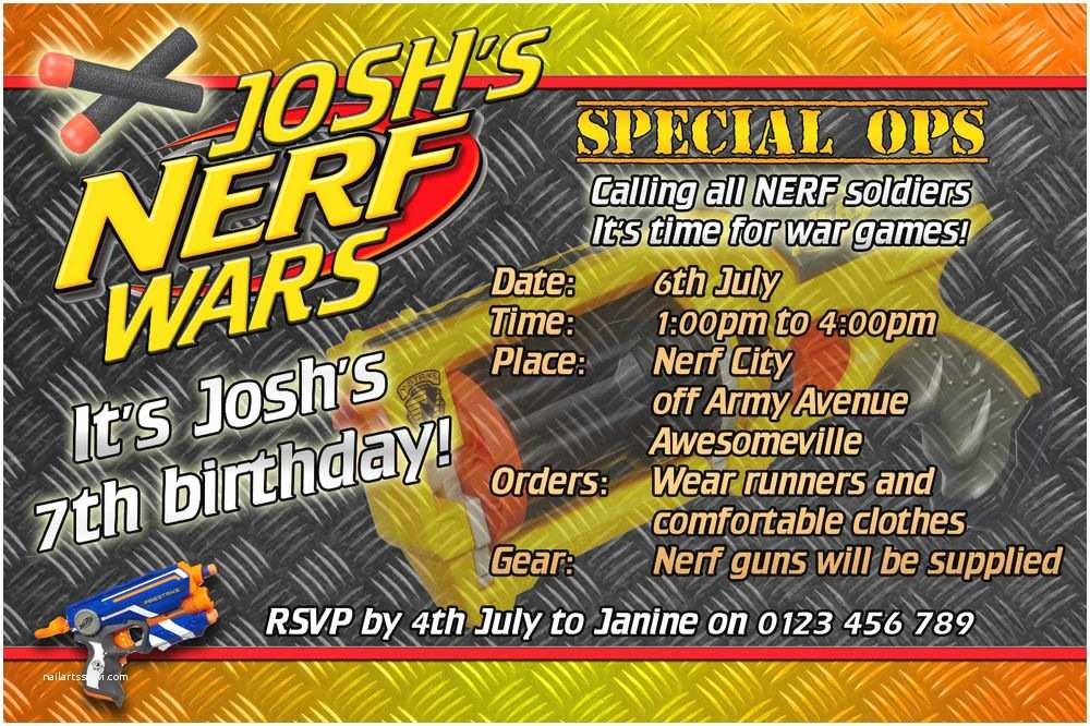 Nerf War Birthday Party Invitations Nerf Wars Nerf Army Birthday Party Invite Invitation