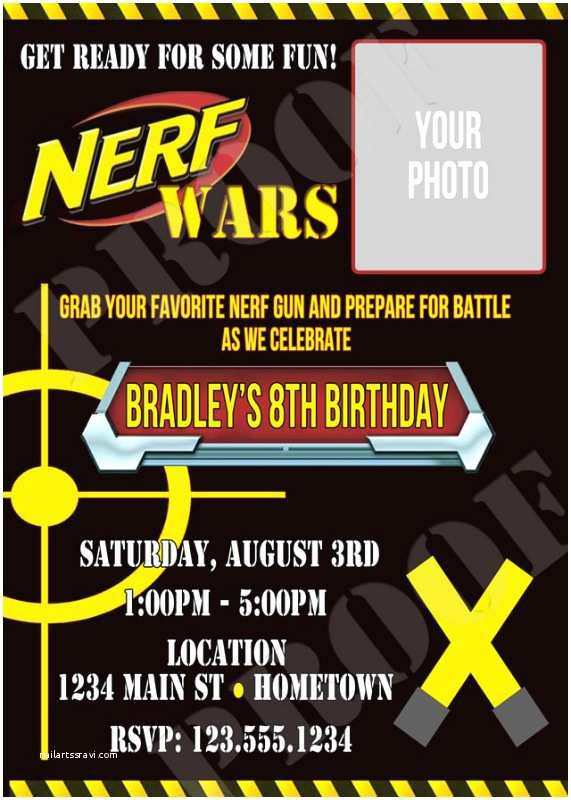 Nerf War Birthday Party Invitations Personalized Printable Invitations