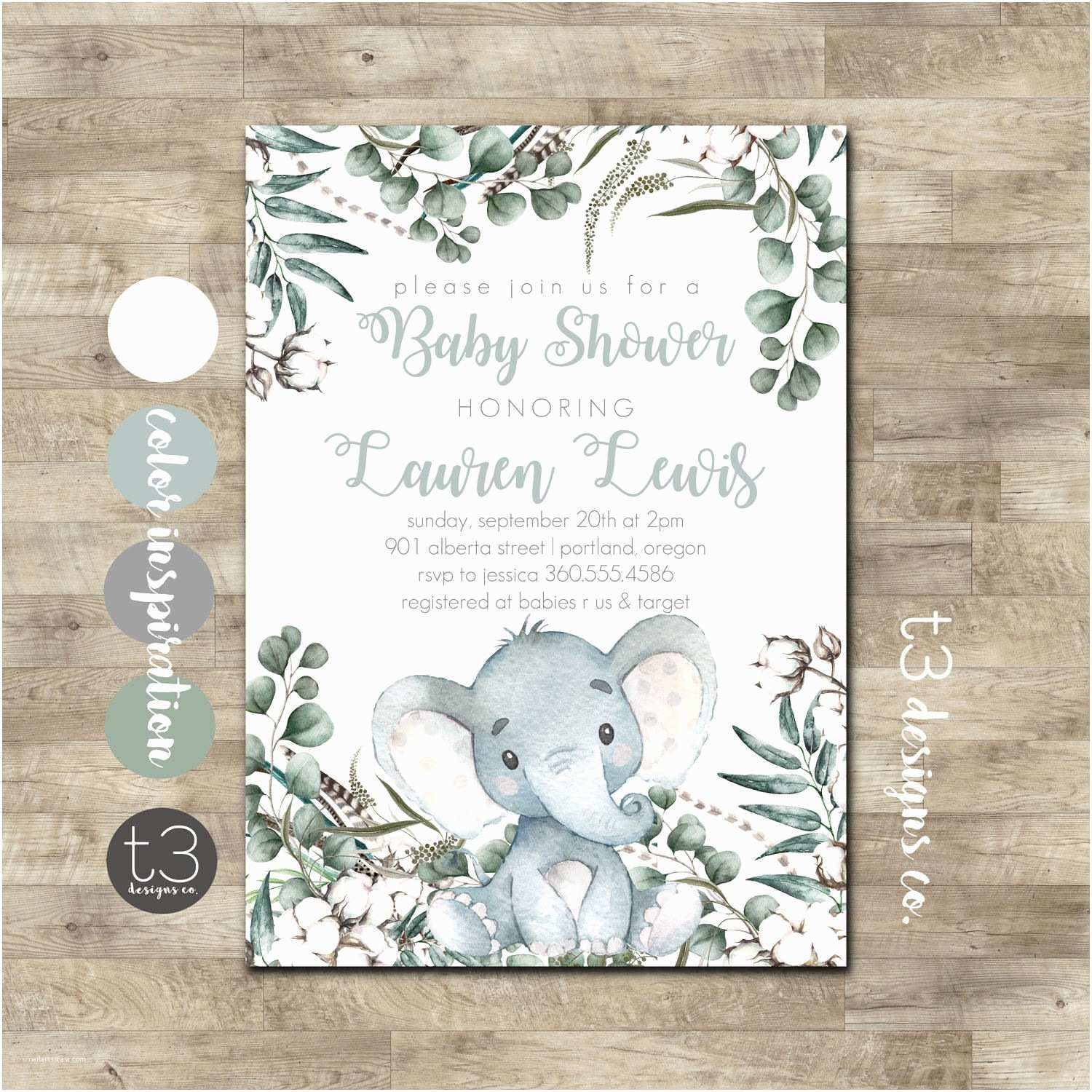 Neutral Baby Shower Invitations Elephant Baby Shower Invitation Gender Neutral Baby