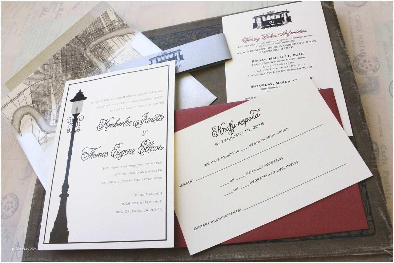 New orleans Wedding Invitations Modern Streetcar Wedding Invitation New orleans