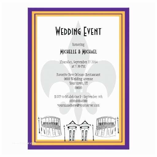 New orleans Wedding Invitations New orleans Wedding event Invite Purple