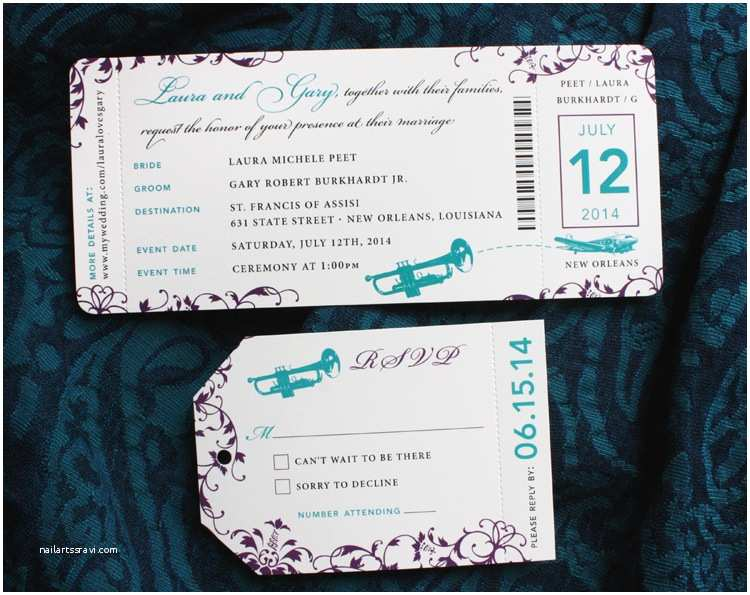 New orleans Wedding Invitations Purple Teal & Turquoise New orleans Inspired Airline