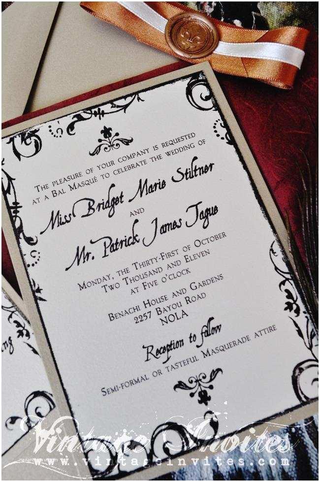 New orleans Wedding Invitations Vintage Wedding Love Vintage Invites Wedding