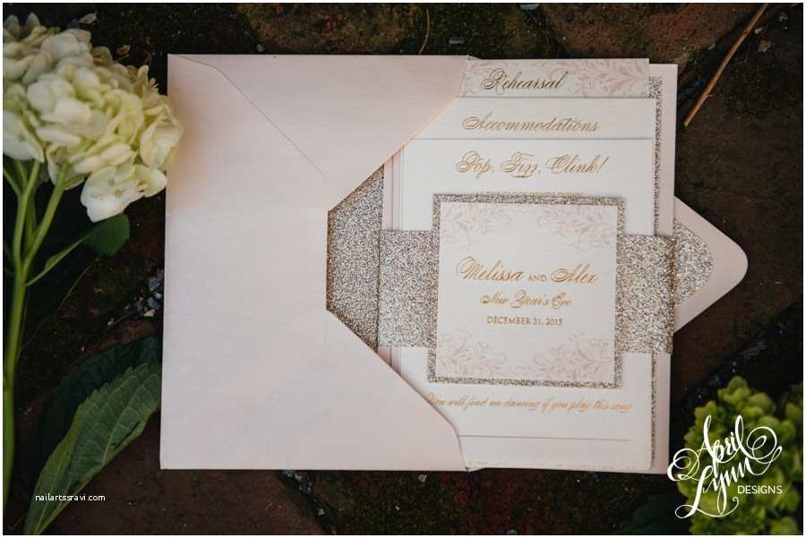 New Wedding Invitations Melissa Alex's Blush and Gold Foil New Year's Eve