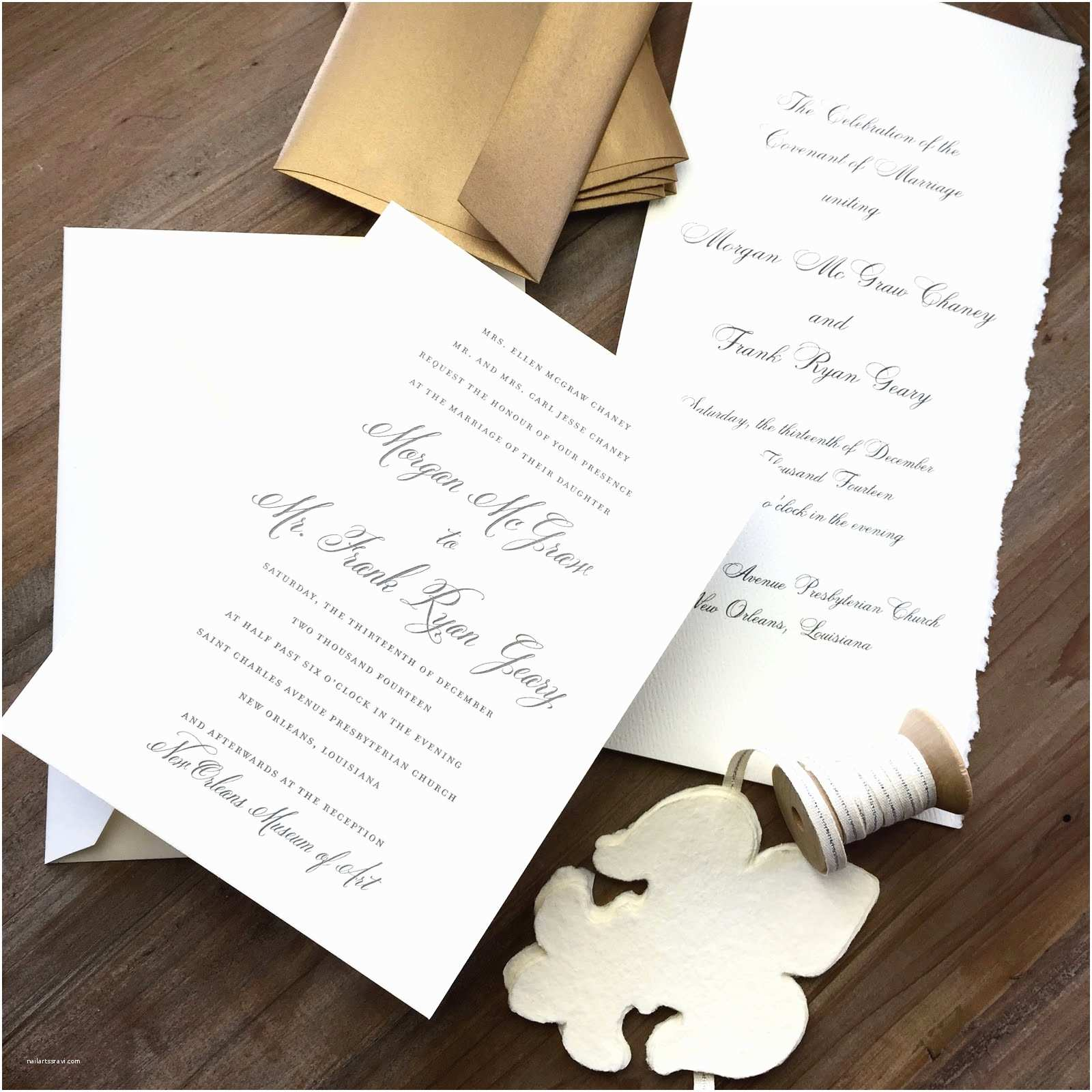 New Wedding Invitations Morgan Chaney and Ryan Geary New orleans Wedding