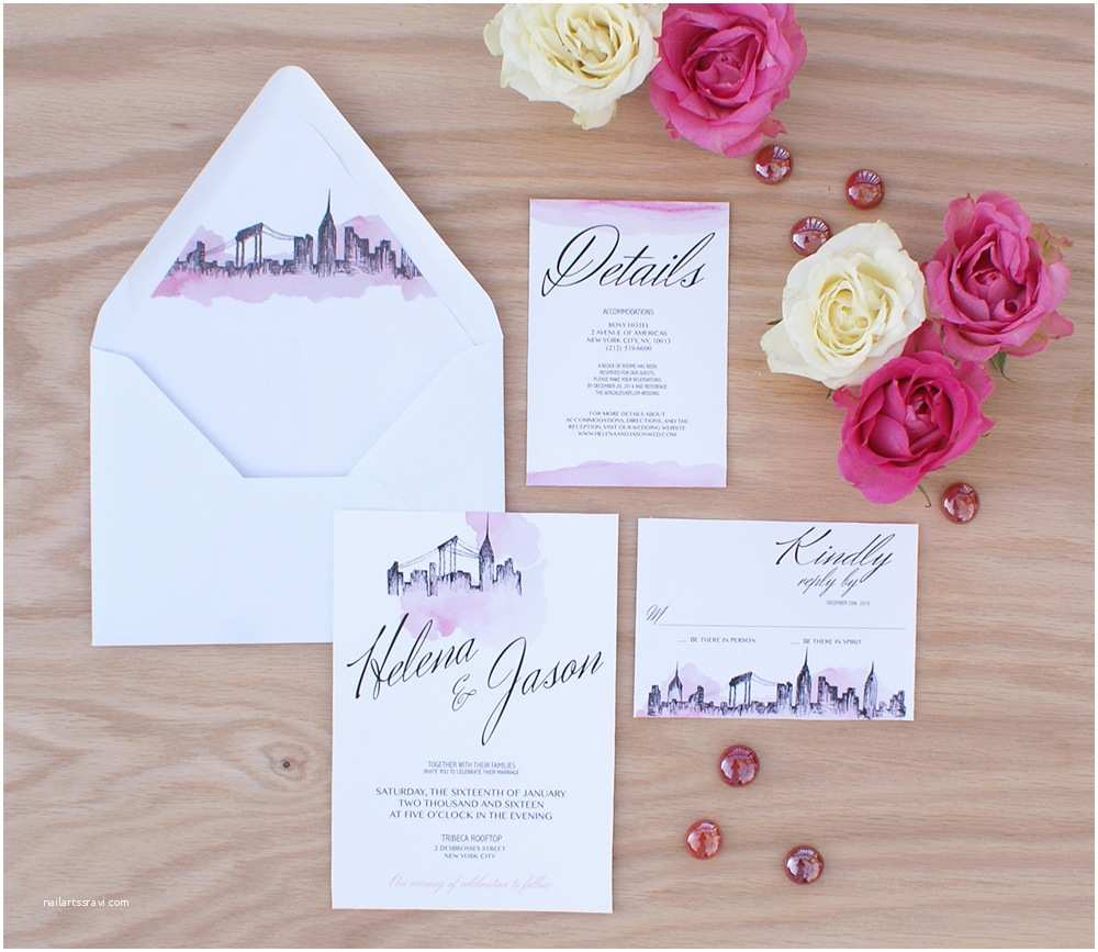 New Wedding Invitations New York City Wedding Invitation Handpainted with