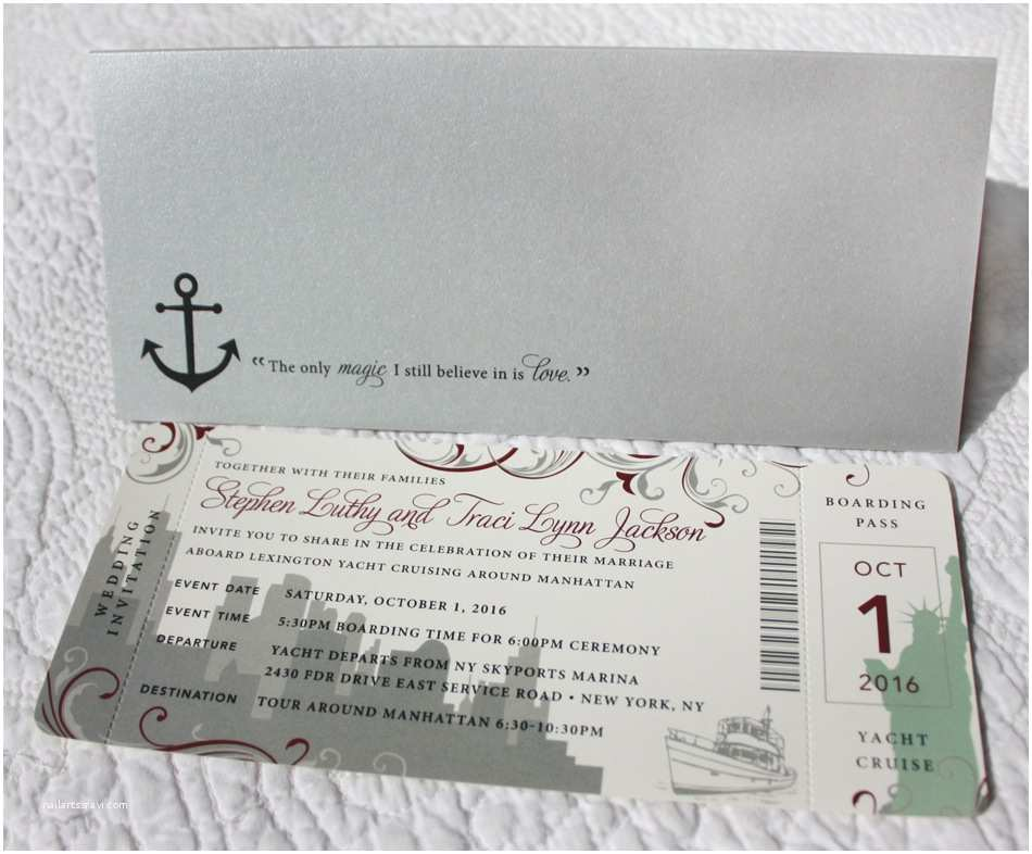 New Wedding Invitations New York Skyline Statue Of Liberty Swirls & Anchor