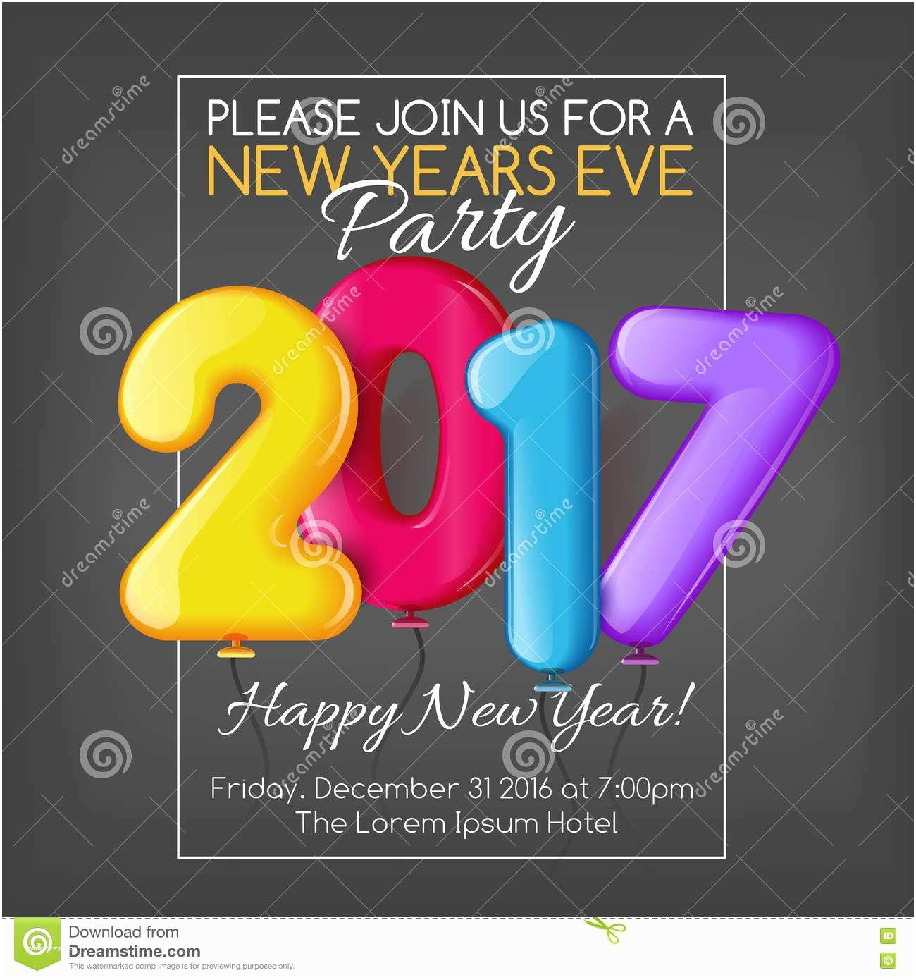 New Year Party Invitation Merry Christmas and Happy New Year 2017 Party Invitation