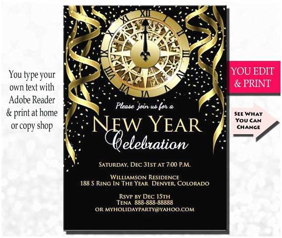 new years invitation new years party