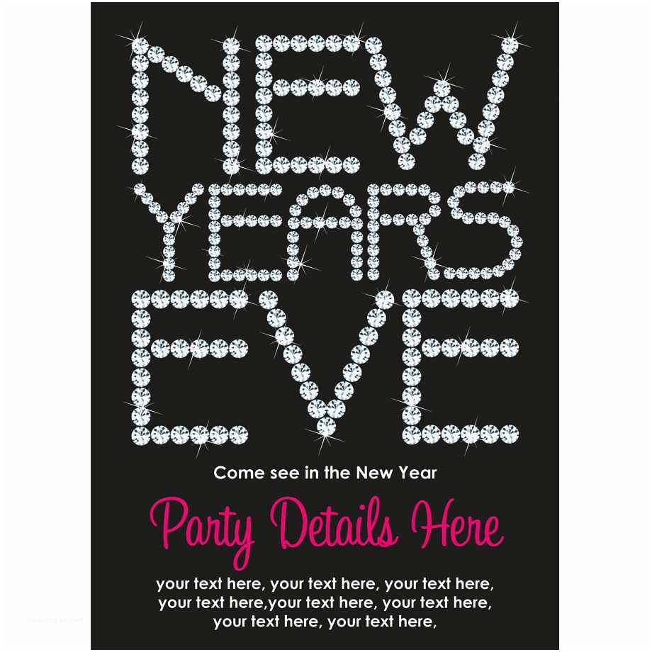 New Years Eve Party Invitations Personalised New Years Eve 2014 Invitations Diamante