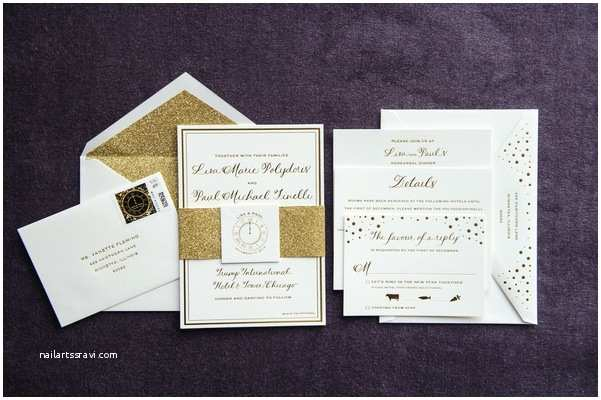 New Years Eve Wedding Invitation Ideas New Year S Eve Wedding with Glittering Metallic Details In