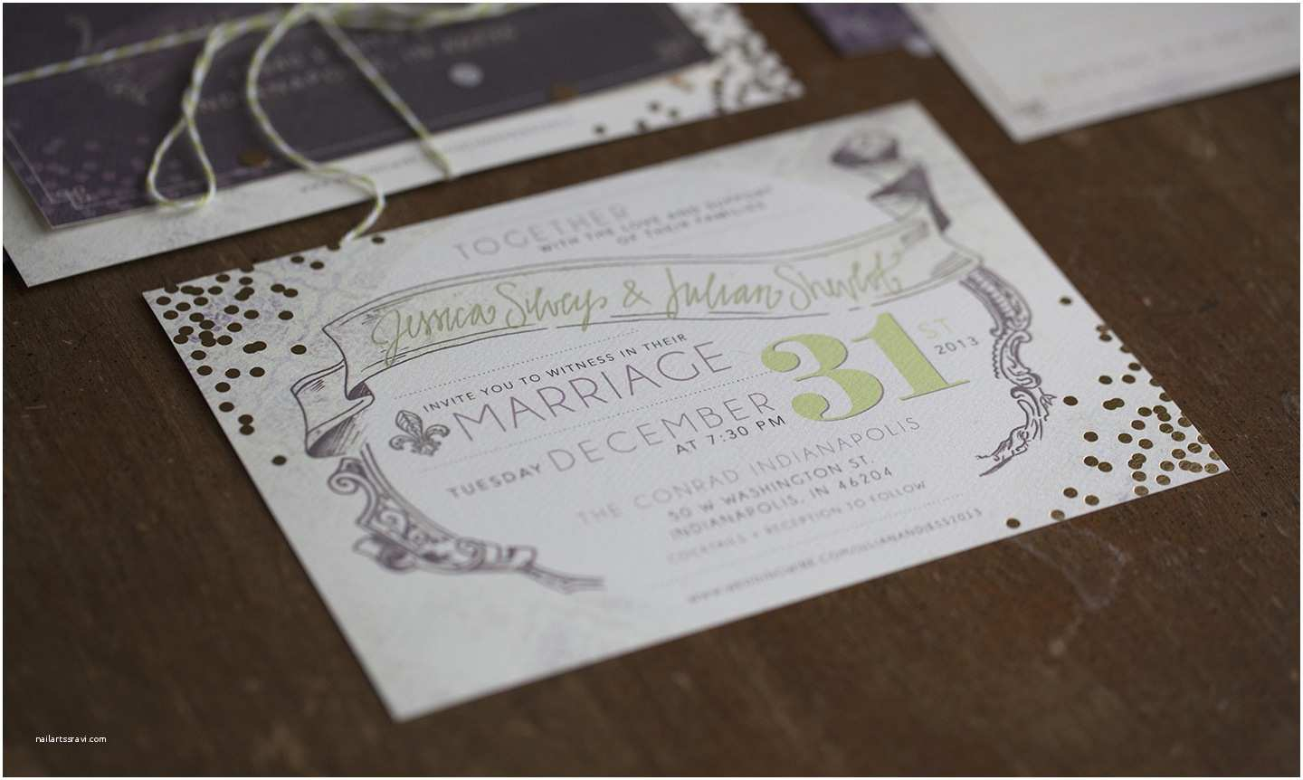 New Years Eve Wedding Invitations Jenny tod Creative Sparkled Vintage New Year's Eve