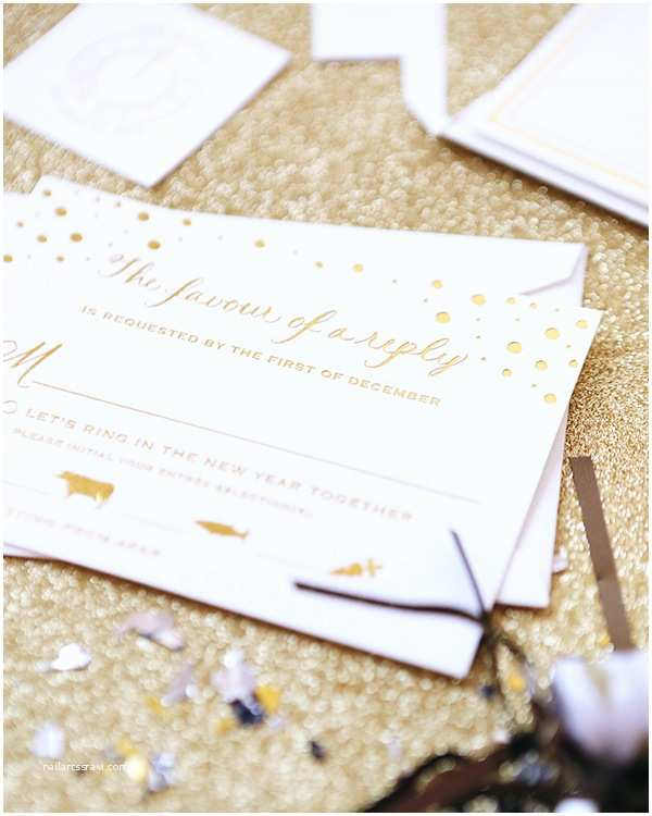 New Years Eve Wedding Invitations Lisa Paul S Gold New Year S Eve Wedding Invitations