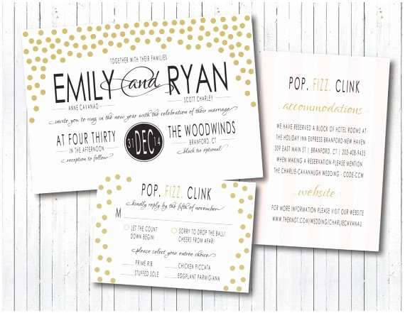 New Years Eve Wedding Invitations New Year S Eve Modern Elegant Confetti Wedding Invitation