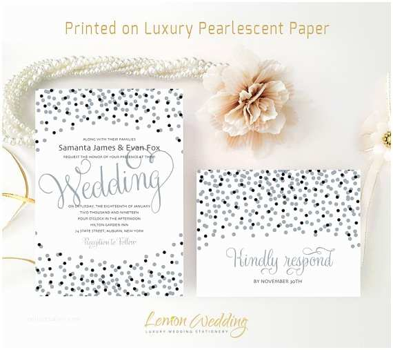 New Years Eve Wedding Invitations Silver and Black Wedding Invitations Printed On Shimmer Paper