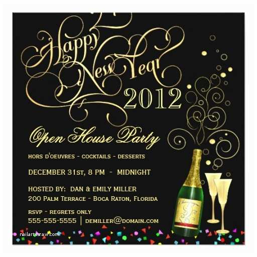 New Years Party Invitations New Year S Eve Open House Party Black and Gold