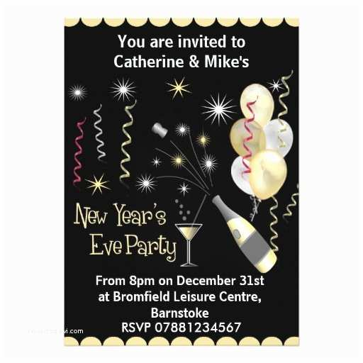 New Years Party Invitations New Years Eve Party Invitation Black & Gold