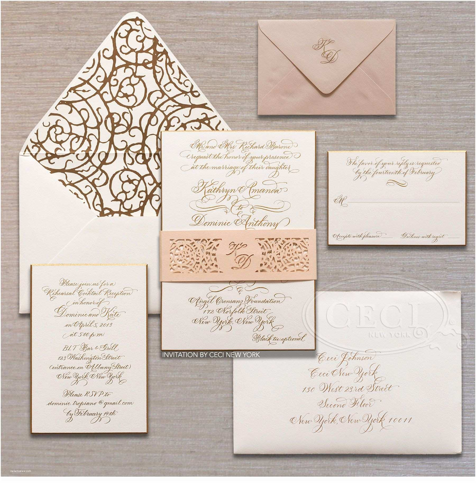 New York Wedding Invitations Luxury Wedding Invitations by Ceci New York