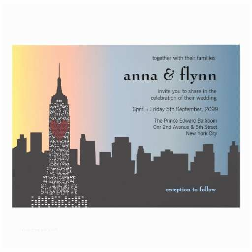 New York Wedding Invitations New York City Skyline Cityscape Wedding Invitation