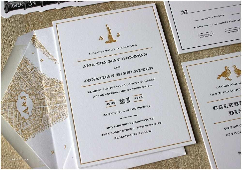 New York Wedding Invitations Vintage Nyc Letterpress Wedding Invitations — Sesame