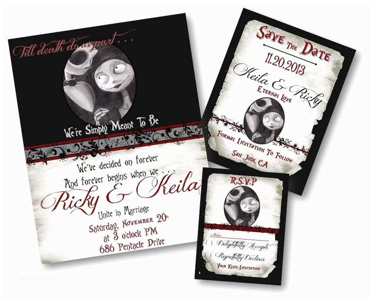 Nightmare before Christmas Wedding Invitations Beautiful Nightmare before Christmas Jack and Sally Jack