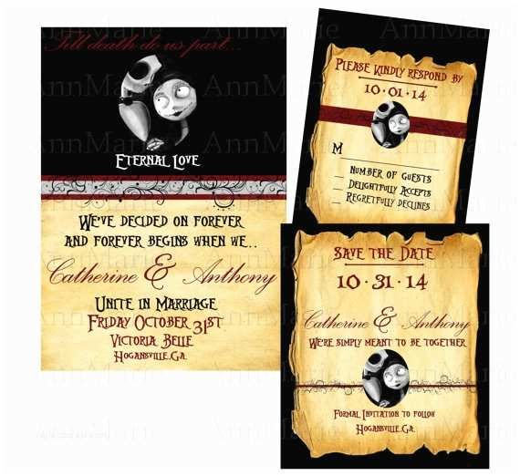 Nightmare before Christmas Wedding Invitations Items Similar to Nightmare before Christmas Wedding