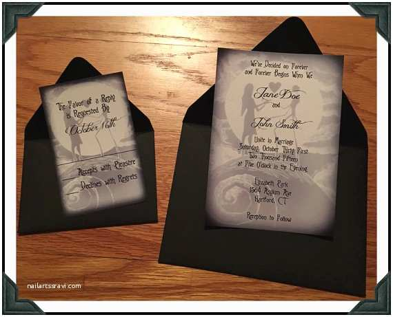 Nightmare before Christmas Wedding Invitations Nightmare before Christmas Inspired Black and White Printed