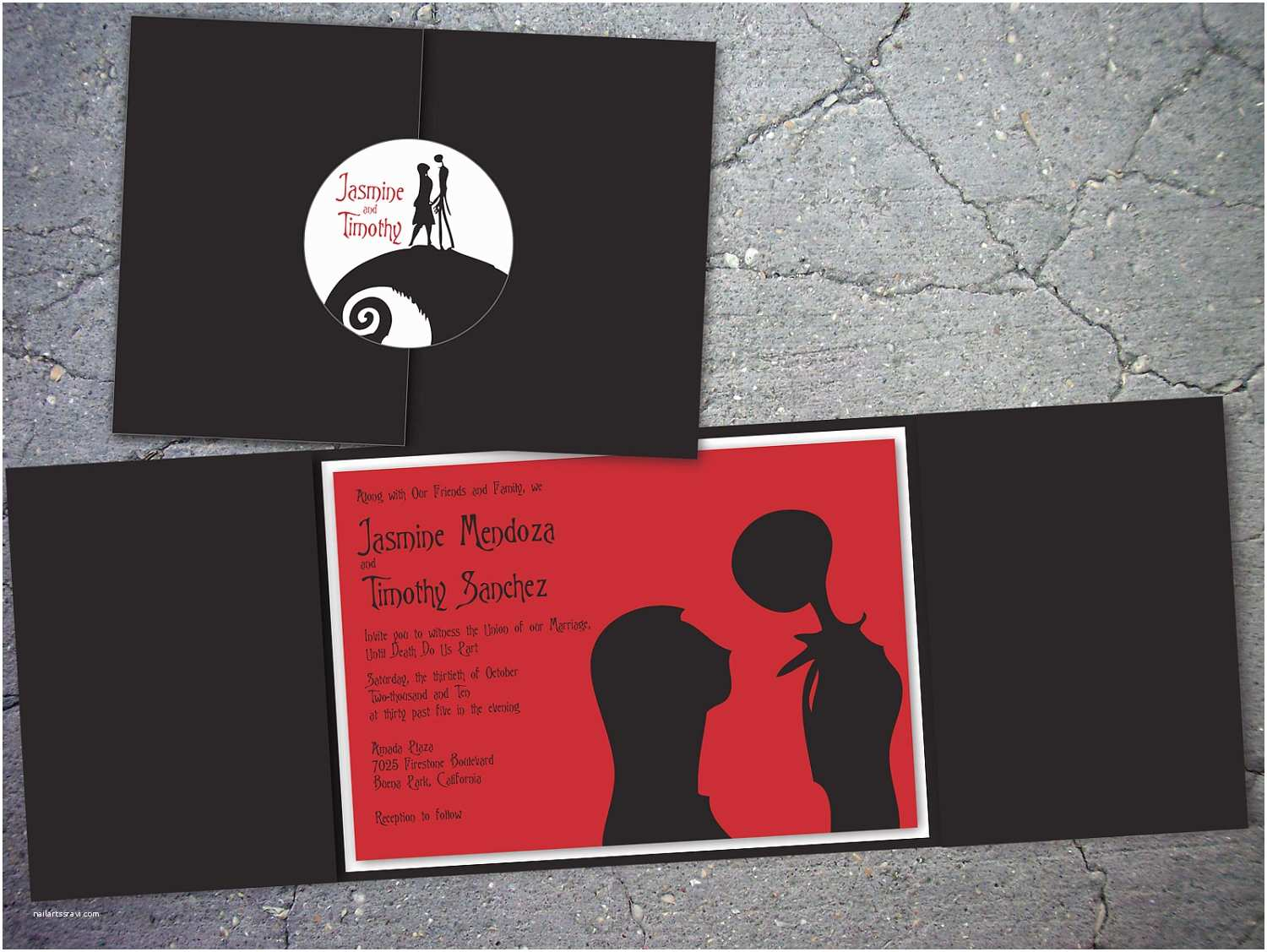Nightmare before Christmas Wedding Invitations Nightmare before Christmas Inspired Trifold Wedding by