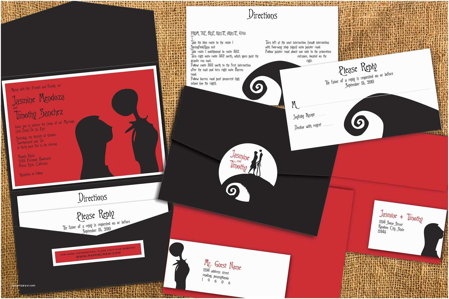 Nightmare before Christmas Wedding Invitations Nightmare before Christmas Inspired Wedding by Papercrew