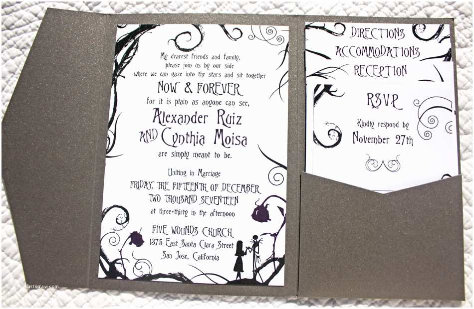 Nightmare before Christmas Wedding Invitations Swirls and Scrolls Archives Emdotzee Designs