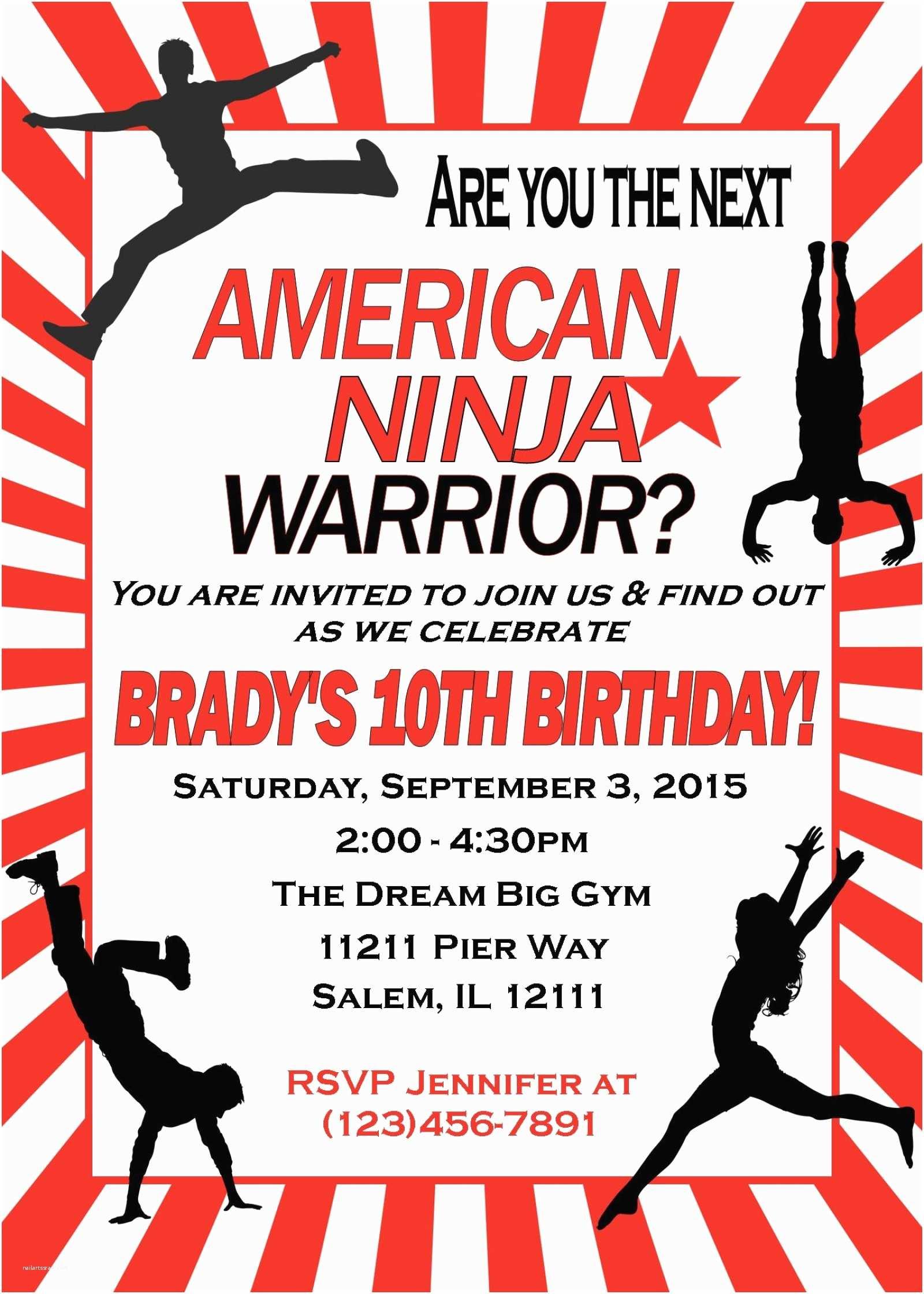 Ninja Party Invitations American Ninja Warrior Birthday Invitation
