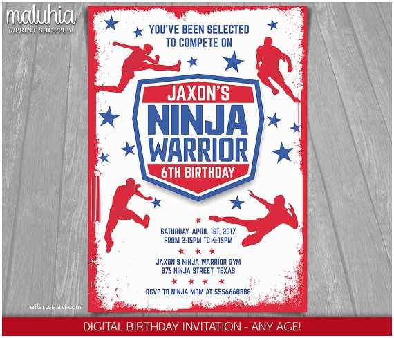 Ninja Party Invitations American Ninja Warrior Invitation Ninja Warrior Invite