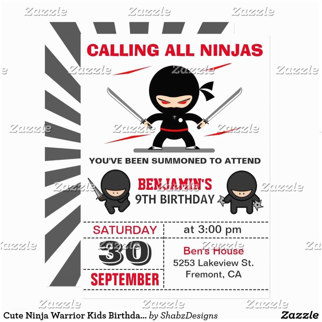 Ninja Party Invitations Cute Ninja Warrior Kids Birthday Party Invitation