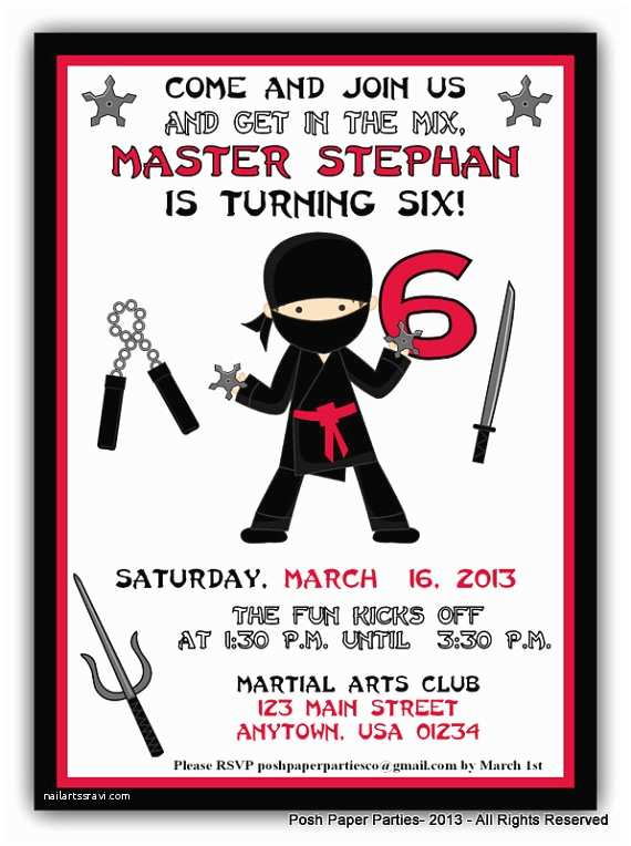 Ninja Party Invitations Items Similar to Ninja Birthday Party Invitation Red