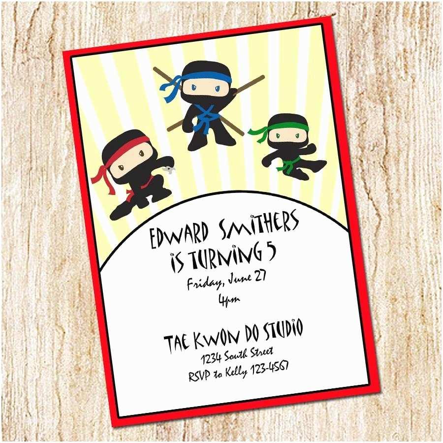 Ninja Party Invitations Martial Arts Birthday Invitations