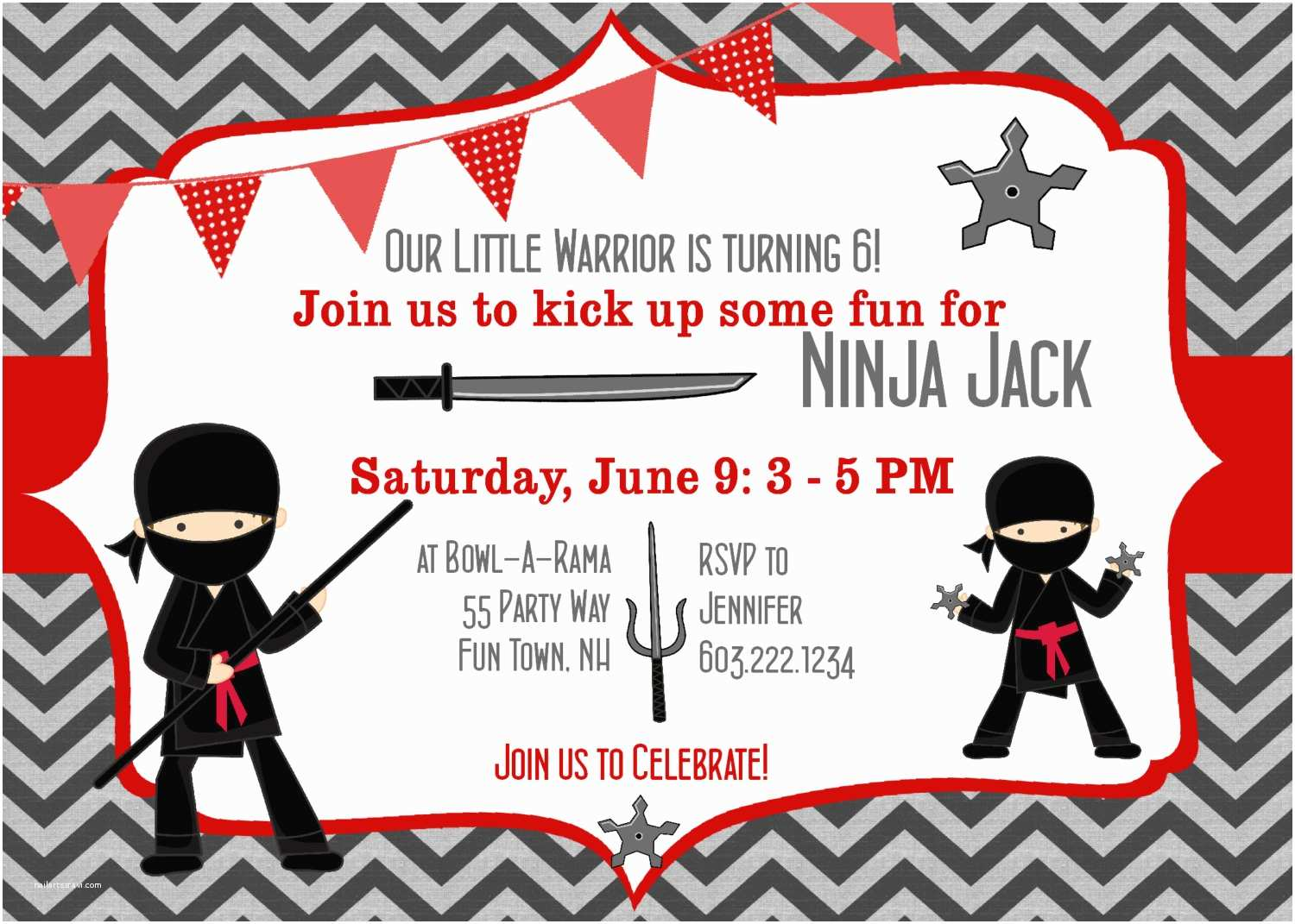 Ninja Party Invitations Ninja Birthday Invitation Any Age Ninja Warrior Birthday Party