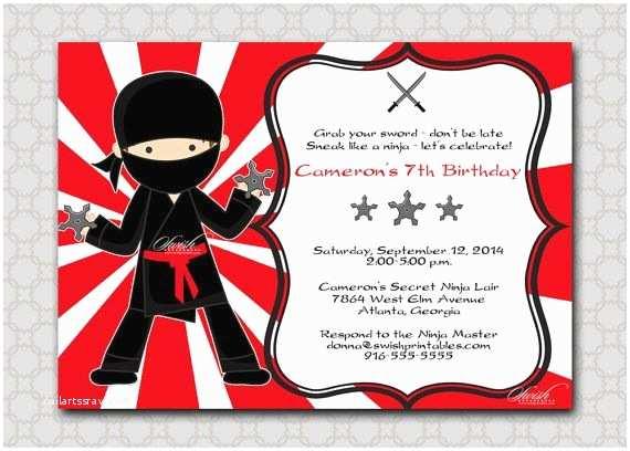 Ninja Party Invitations Ninja Birthday Invitation Ninja Party