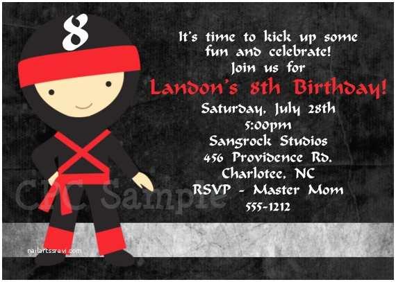 Ninja Party Invitations Ninja Birthday Invitations for Taekwondo Birthday Invitation