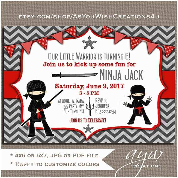 Ninja Party Invitations Ninja Birthday Party Invitation Ninja Warrior Birthday
