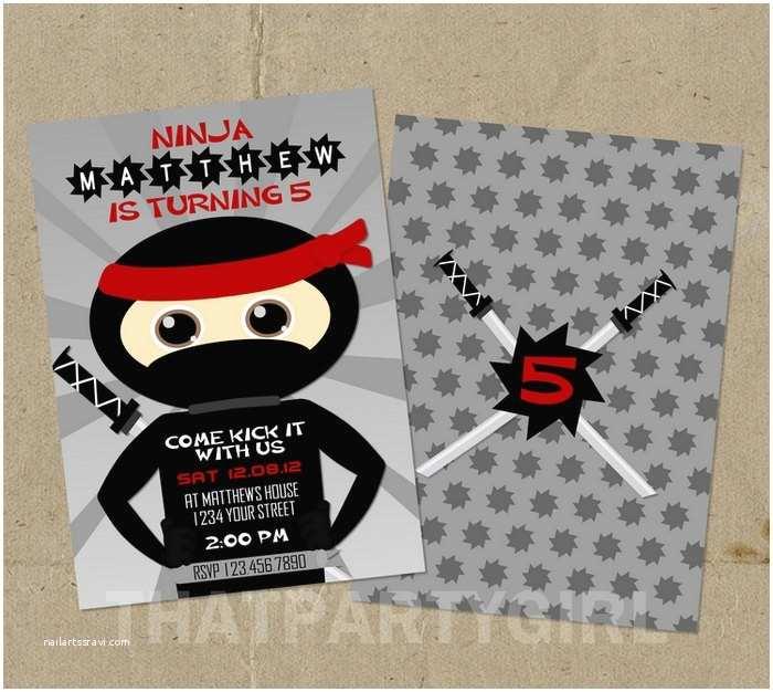 Ninja Party Invitations Ninja Birthday Party Invitations Diy Digital U Print