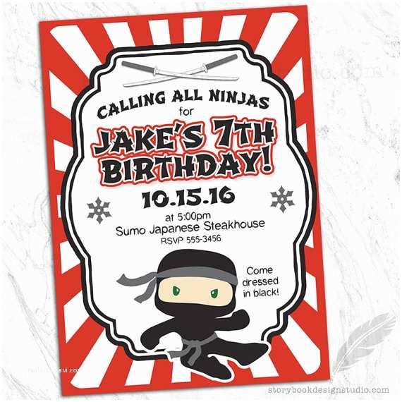 Ninja Party Invitations Ninja Birthday Party Invitations Ninja Karate