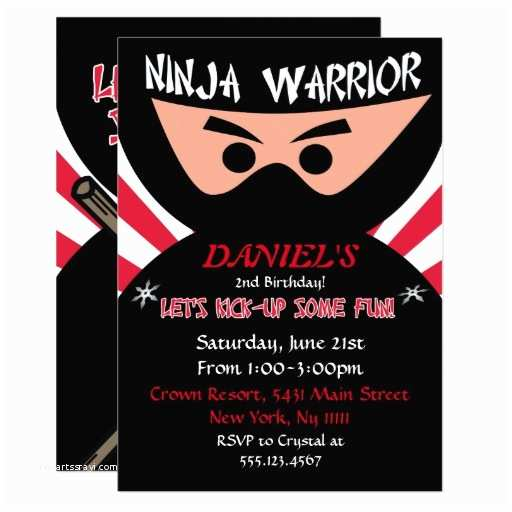 Ninja Party Invitations Ninja Warrior Birthday Invitation