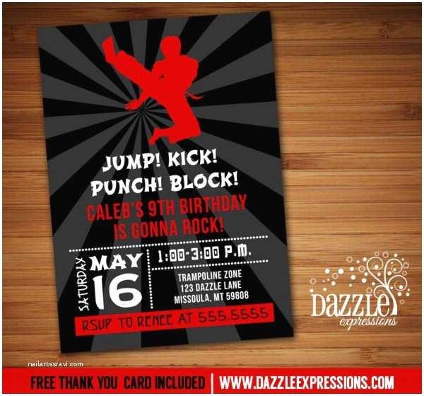 Ninja Party Invitations Printable Modern Karate Birthday Invitation Martial Arts