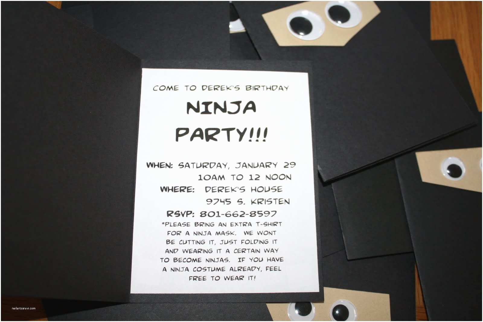 Ninja Party Invitations Summer Art Ninja Birthday