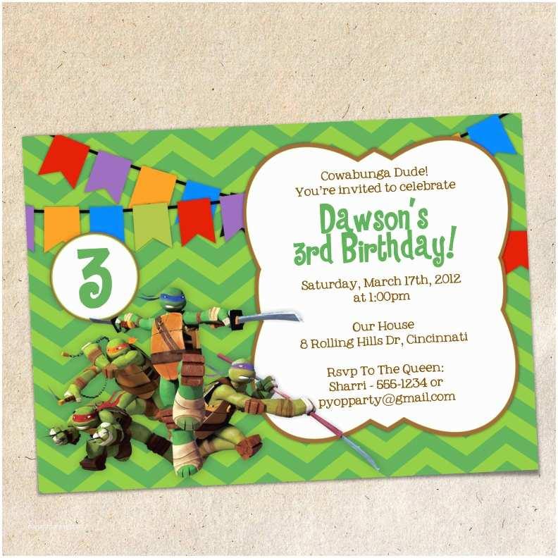 Ninja Party Invitations Teenage Mutant Ninja Turtles Party Invitations – Gangcraft
