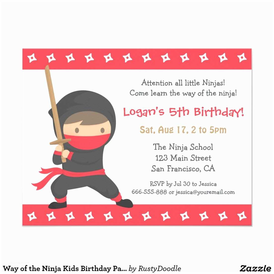 Ninja Party Invitations Way Of the Ninja Kids Birthday Party Invitations