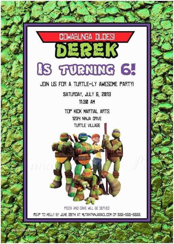 Ninja Turtle Birthday Invitations 14 Best Ninja Turtle Invitations Images On Pinterest