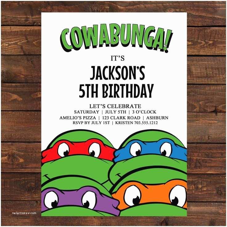 Ninja Turtle Birthday Invitations 25 Best Ideas About Ninja Turtle Invitations On Pinterest