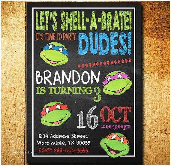 Ninja Turtle Birthday Invitations Invitations Ninja Turtle Invitation From